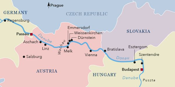 Map Classical Danube River Cruise